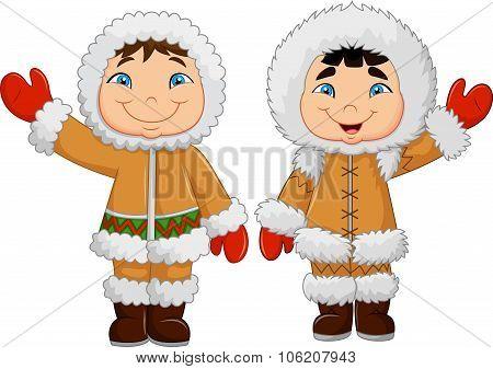 Cartoon happy Eskimo kids waving hand