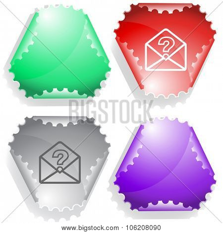 open mail with query sign. Raster sticker.