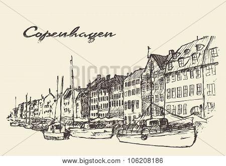 Copenhagen Denmark illustration hand drawn