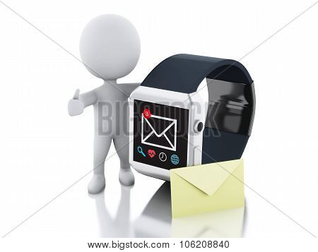 3D White People And Smart Watch. Technology Concept