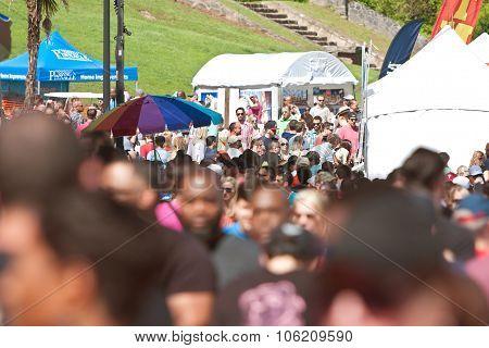 Large Crowd Of People Walks Through Atlanta Dogwood Festival