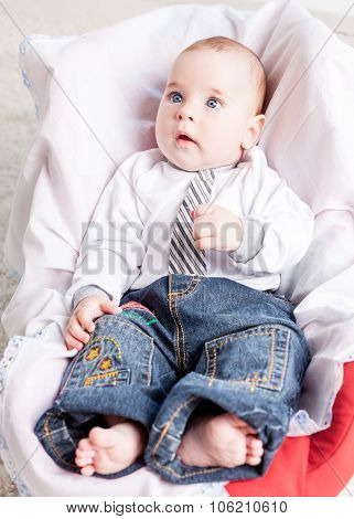 Nice baby wearing jeans