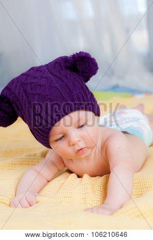 Cute little boy in funny hat