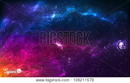Colorful Space Galaxy Background with Shining Stars, Stardust and Nebula. Vector Illustration for ar