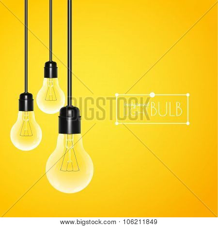 Hanging turned off light bulbs on a yellow background. Vector illustration for your design