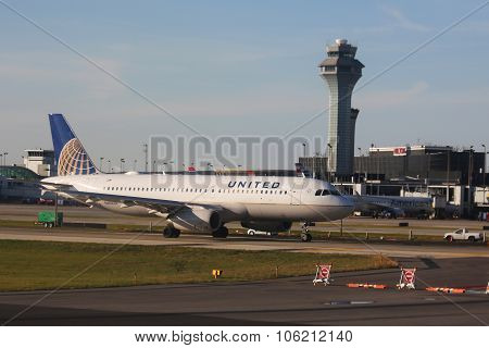 United Airlines Airbus A320 plane on tarmac at O'Hare International Airport in Chicago