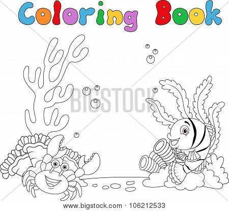 Cartoon under water coloring book