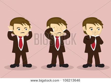 Cartoon boy character in business suit using hands to cover his mouth eyes and mouth. Vector illustration for metaphor on see no evil hear no evil speak no evil. poster
