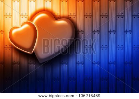 Two Hearts On The Wood Background
