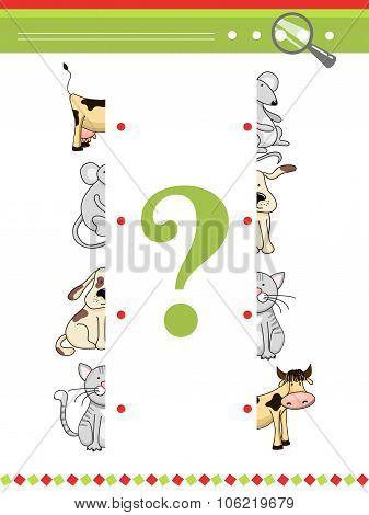 Halves matching game for preschool children book. Vector animals characters