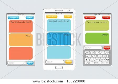 Message boxes for messaging on mobile phones vector template
