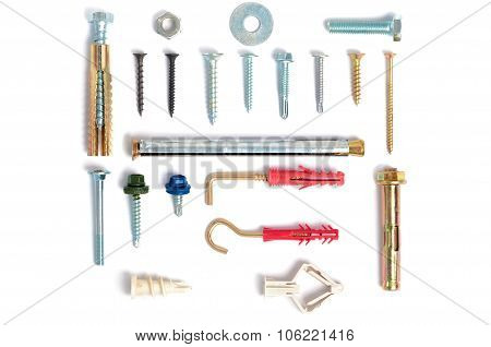 Photo various types of fastening elements for different materials. Metis. poster