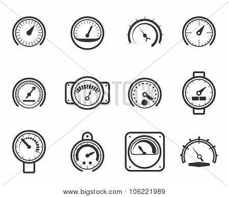 Speedometers, manometers, tachometers and barometers in linear design style. Vector meter icons set