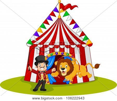 Cartoon lion jumping through ring with circus tent background