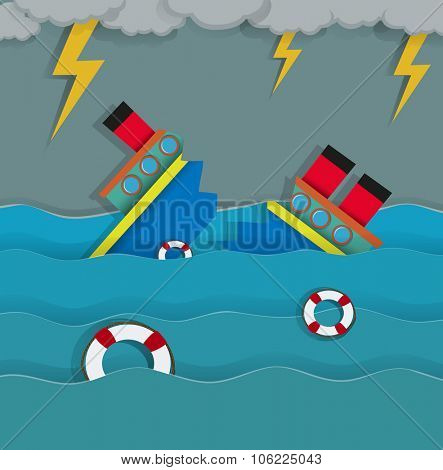Thunderstorm and shipwreck in the ocean illustration
