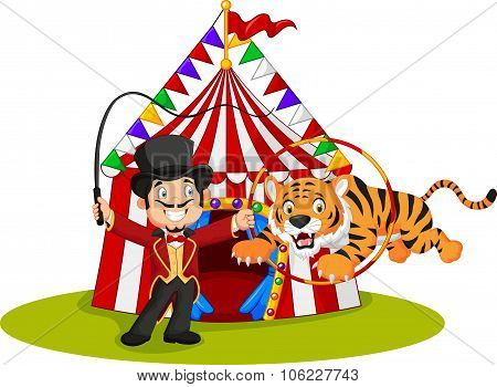 Cartoon tiger jumping through ring with circus tent background