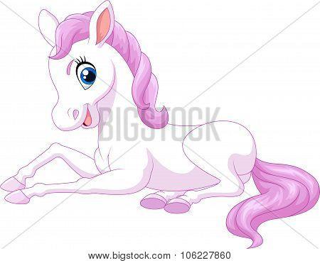 Cartoon funny beautiful pony horse sitting isolated on white background