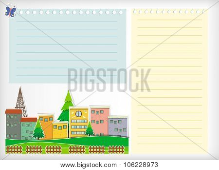 Paper design with buildings illustration
