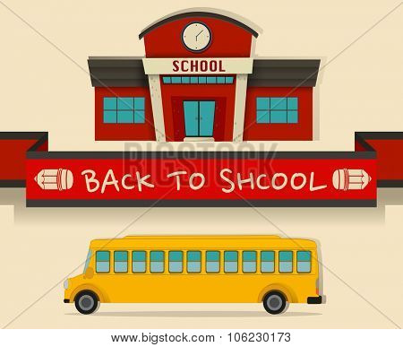 Back to school theme with schoolbus  illustration