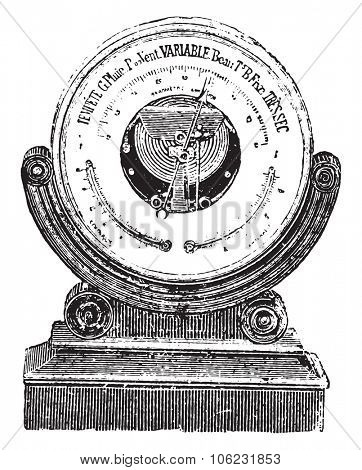 Aneroid barometer, vintage engraved illustration. Dictionary of words and things - Larive and Fleury - 1895.
