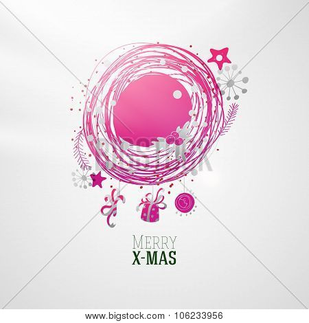 Modern bright color Xmas wreath illustration