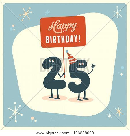 Vintage style funny 25th birthday Card.
