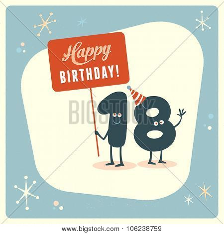 Vintage style funny 18th birthday Card.