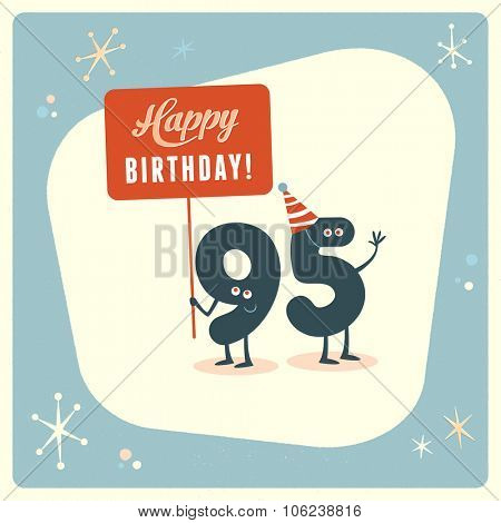 Vintage style funny 95th birthday Card.