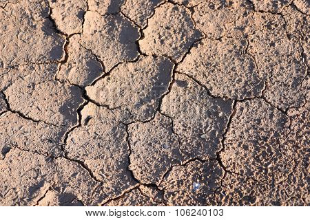 Soil Cracks Desert Sands Water Evaporation And Global Warming