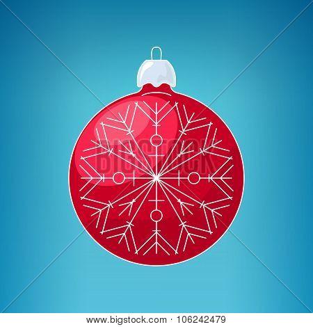 Christmas Red Ball With Snowflake