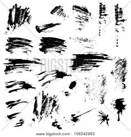 Set Of Black Blots And Ink Splashes. Abstract Elements For Design In Grunge Style.
