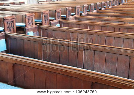 Wooden Pew Seats.