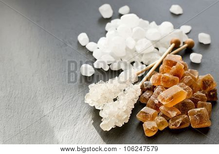 Chrystal Sugar White And Brown On Balck Background