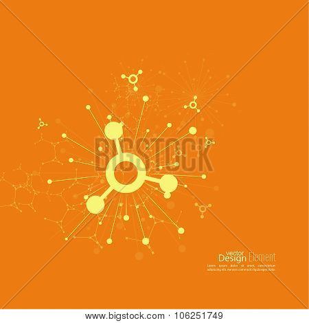 Array with dynamic emitted particles. Node molecule structure. Science and connection concept. Explosion and destruction. Techno Research, brain cells, neurons poster