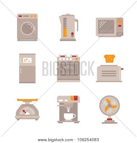 Household appliances iconset in monoline style - kettle, fridge, oven, coffee machine.