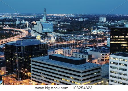 Winnipeg Panorama At Night