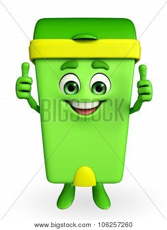 Dustbin Character With Best Sign