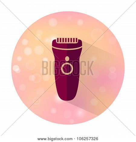 Vector stylish flat icon with long shadow effect of beauty and cosmetic on blurred background. Clipper. poster