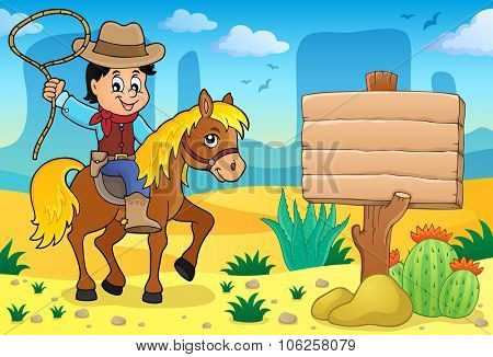 Cowboy on horse theme image 4 - eps10 vector illustration.