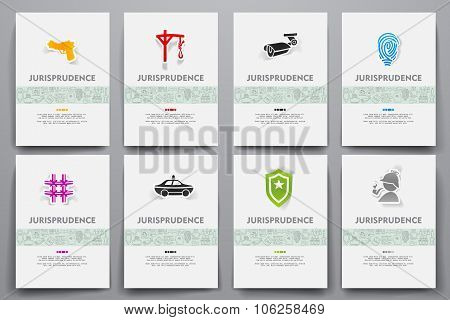 Corporate identity vector templates set with doodles jurisprudence theme