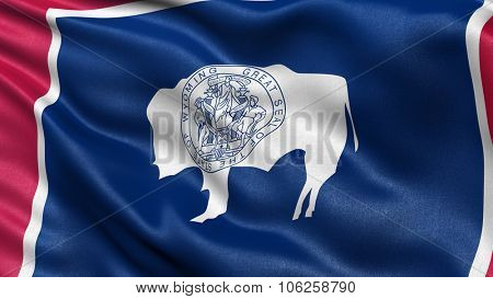 US state flag of Wyoming with great detail waving in the wind.