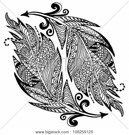 Ornamental Hand Drawn Sketch Of Feathers In Zentangle Style. Vector Illustration With Ornament, Isol