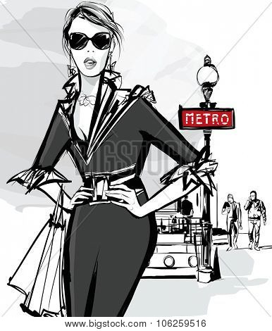 Fashion woman model shopping in Paris using underground - Vector Illustration