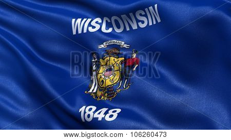 US state flag of Wisconsin waving in the wind with high quality texture