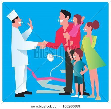 Happy family with a sparkling smile dentist thanks for the good work. Dentist office vector illustration. Family in dentist office or dental clinic. Good dentist work. Dentist with patient. Dental care, smile teeth. Ad for dental clinic or dentist office.