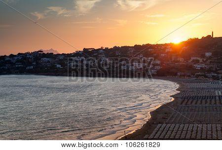 Mediterranean Sea Coast Landscape At Sunset