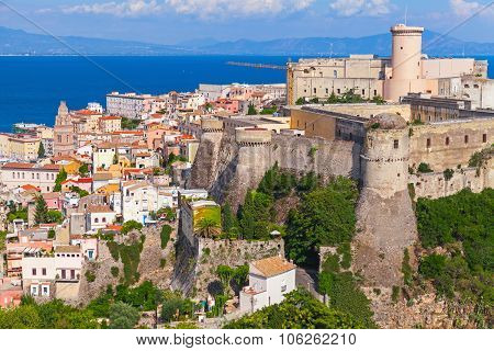 Landscape Of Old Town Gaeta With Ancient Castle