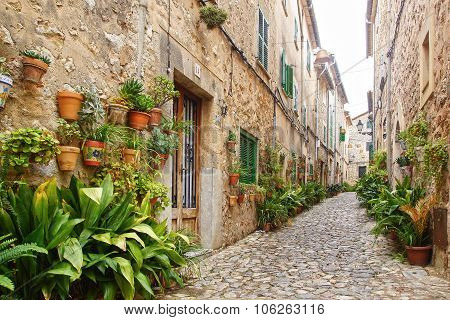 The old town vintage architecture in Valdemossa, Mallorca, Spain.