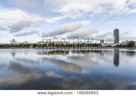 Yekaterinburg waterscape over lake Gorodskoy