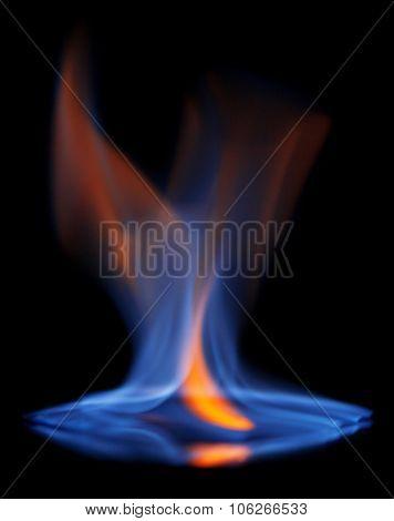 Flaming Alcohol Black Background